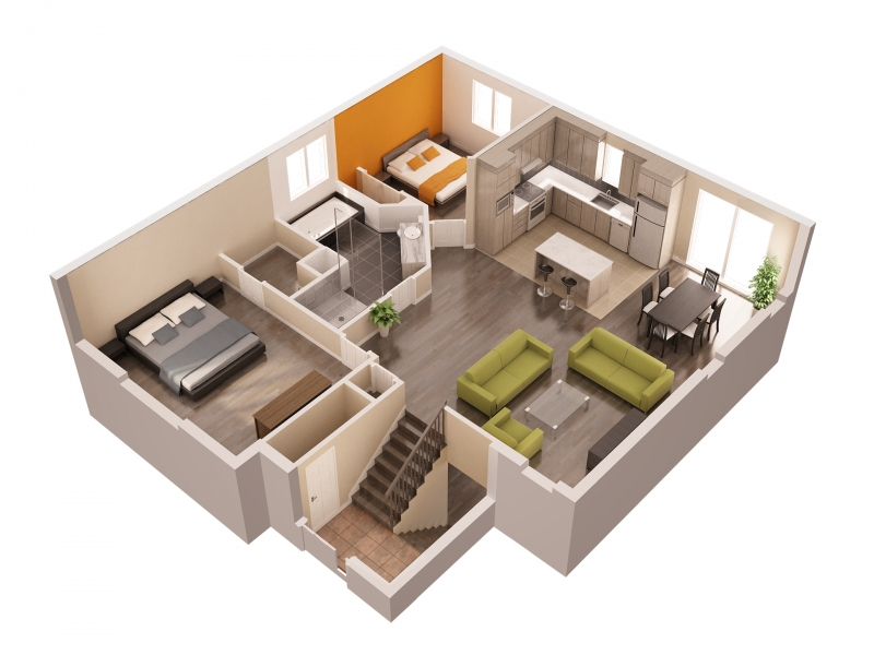 Interieur maison en 3d for Plan maison interieur 3d